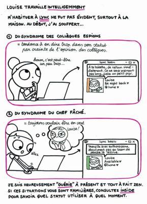 Quand nous avons mis en place l'outil de chat et vidéo conférence « Lync », nous avons souhaité communiquer sur les bonnes pratiques. Quand faut-il utiliser le statut « disponible » ou « occupé » ? L'idée était aussi d'expliquer que Lync n'est pas un outil de contrôle et que le Nouveau Monde du Travail repose avant tout sur la confiance et les accords quant aux résultats à atteindre. La BD a été complétée par des articles sur notre Intranet ainsi que des formations.
