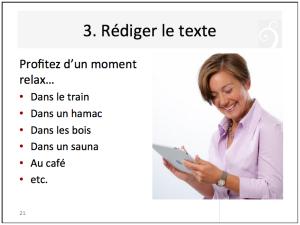 Rédiger le texte d'un article de blog sur tablette